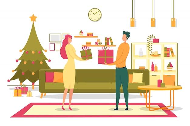 Familie, die flache illustration der weihnachtsgeschenke gibt