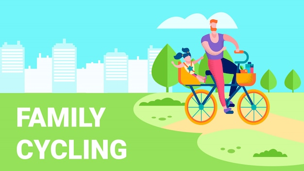 Familie, die flache textillustration der erholung im freien radfährt