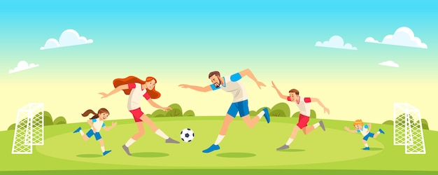 Familie, die fußball im park zusammen spielt