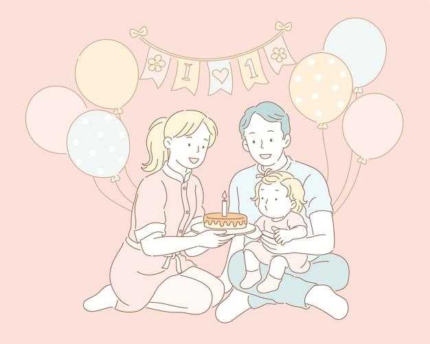Familie, die geburtstag für baby in der linienartillustration feiert