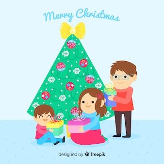 Familie, die geschenkweihnachtshintergrund teilt