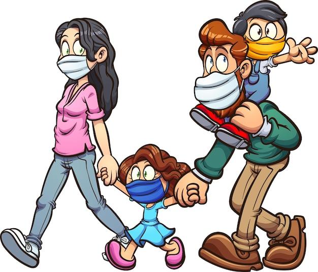 Familie, die gesichtsmaskenkarikatur lokalisiert auf weiß trägt