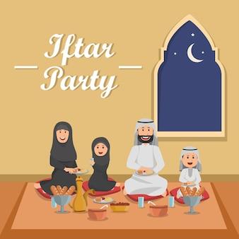 Familie, die iftar bedeutet, ramadan-tätigkeit zusammen essend, nachdem sie gefastet hat