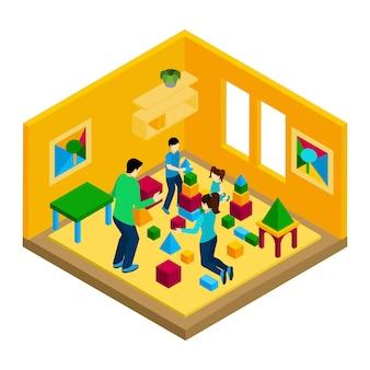 Familie, die illustration spielt