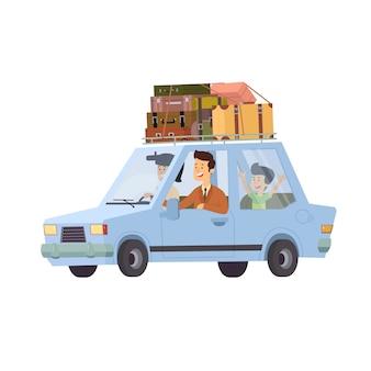 Familie, die im auto, auf weißem hintergrund reist