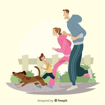 Familie, die im freientätigkeiten tut