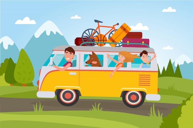Familie, die im urlaub an der landschaft im packwagen voll des gepäcks und mit kleiner illustration des basketballs, des kompakten fahrrades und des hundes geht.