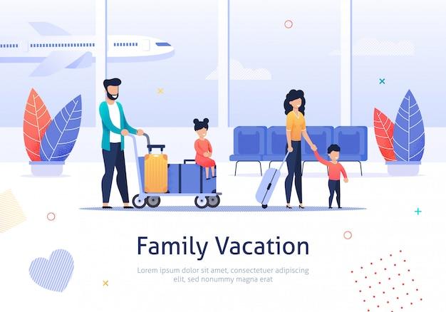 Familie, die im urlaub im flughafenabfertigungsgebäude geht.