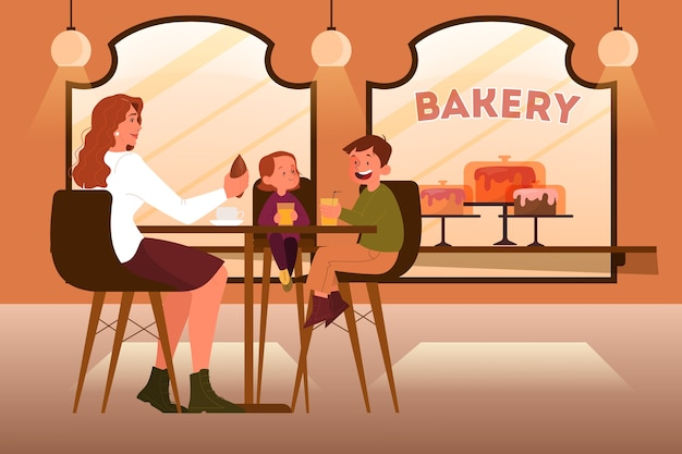 Familie, die in der bäckerei zu mittag isst. mutter und kinder verbringen zeit miteinander. innenraum des bäckereigebäudes. ladentheke mit vitrine voller backwaren.