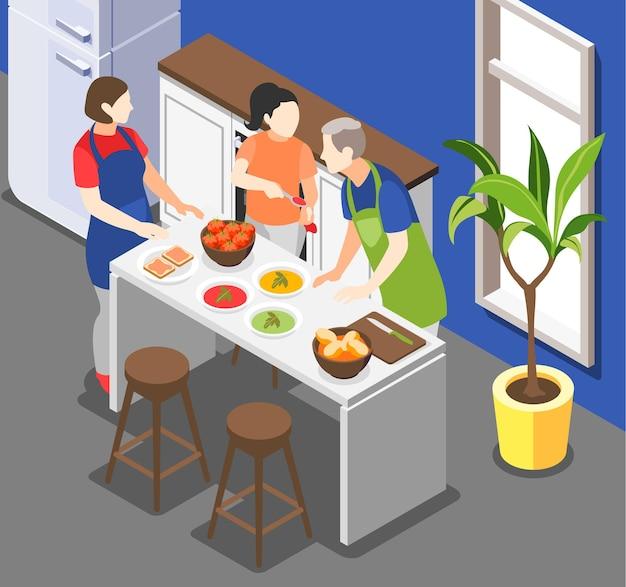 Familie, die isometrische illustration kocht