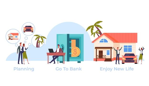 Familie, die kredit auf traum nimmt, wird wahr. bankkonzept.