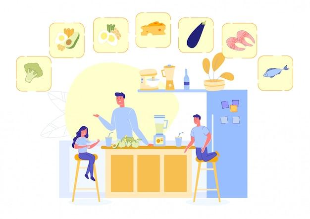 Familie, die mahlzeit mit gesunden produkten vorbereitet