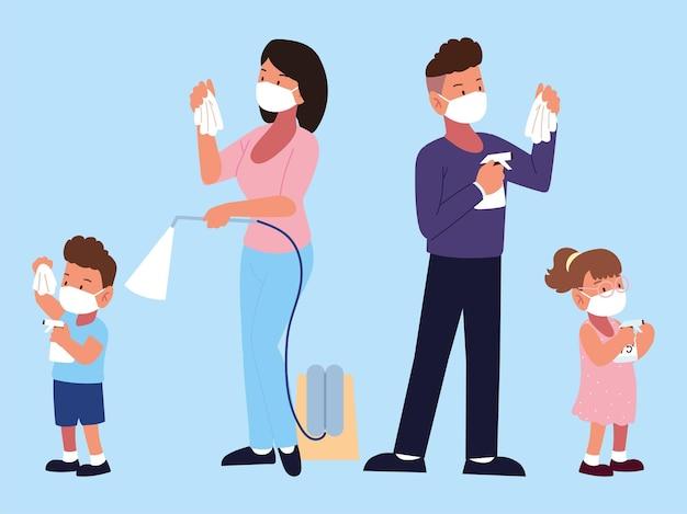 Familie, die medizinische masken trägt, kämpft gegen covid