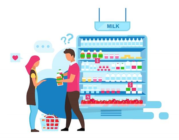 Familie, die milde flache illustration wählt. unentschlossenes paar im supermarkt, das zeichentrickfiguren der milchprodukte kauft. bauernmarktsortimentregal. frau, ehemann, der produktauswahl im laden trifft
