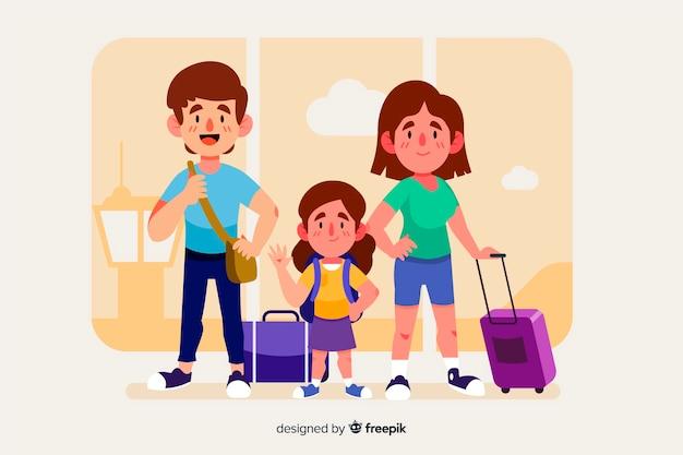 Familie, die mit ihrem gepäck reist