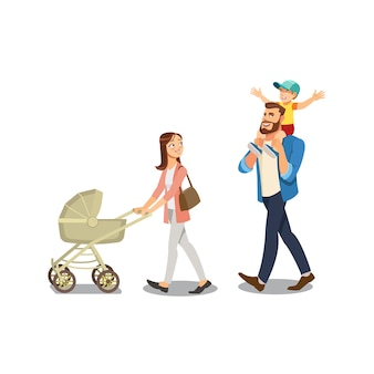 Familie, die mit kindern lokalisiertem karikatur-vektor schlendert