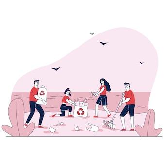 Familie, die müll in den müllsäcken auf ozeanstrandillustration sammelt