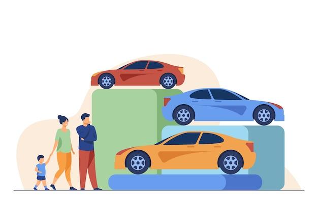 Familie, die neues auto im autohaus wählt. fahrzeug, kind, auto flache vektorillustration. einkaufs- und transportkonzept