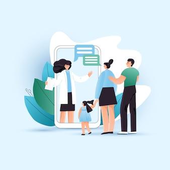 Familie, die online-beratung mit arzttherapeut in der mobilen app im smartphone nimmt. online-arzt und patienten des mannes, der frau und des kindes im videoanruf-treffen, flaches illustrationskonzept