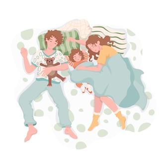 Familie, die sich nachts ausruht und umarmt. mutter, vater und tochter schlafen zusammen auf dem bett und träumen von einer flachen illustration. alltag, familienzeit zusammen.