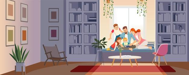Familie, die tablette, beweglichen smartphone verwendet, um das on-line-einkaufen durchzuführen.