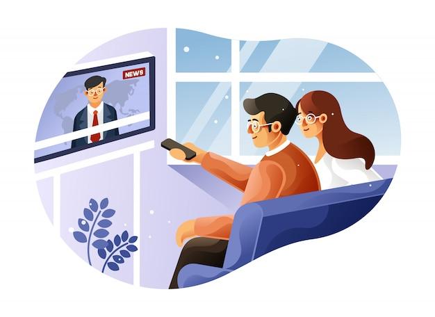 Familie, die tägliche nachrichtensendung im fernsehen sieht