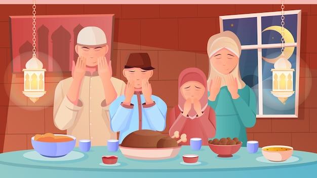 Familie, die vor dem iftar-abendessen während der flachen illustration des ramadan betet