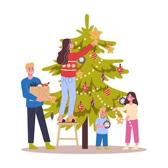 Familie, die weihnachtsbaum für feier schmückt. traditionelle feiertagsdekoration für party. glückliche menschen mit geschenken. illustration im cartoon-stil