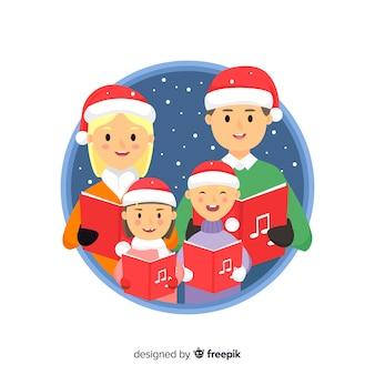 Familie, die weihnachtsbaum-weihnachtshintergrund singt