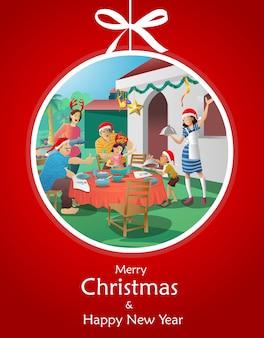 Familie, die weihnachtsgrußkarte erfasst und feiert