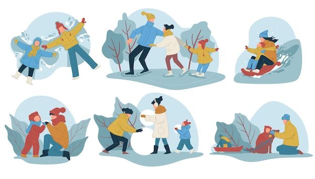 Familie, die winterferien oder wochenenden im freien verbringt