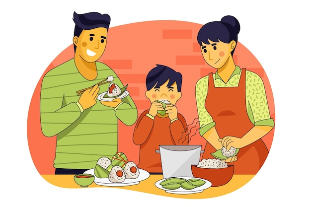 Familie, die zongzi illustration isst