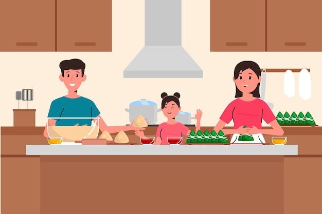 Familie, die zongzi vorbereitet und isst
