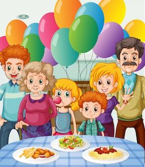 Familie, die zu Hause Party feiert