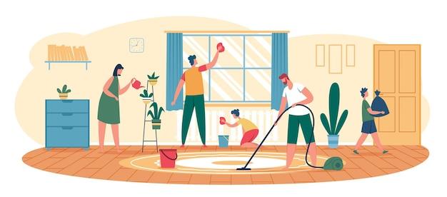 Familie, die zu hause säubert eltern mit kindern, die das fenster abwischen, den boden staubsaugen und den müllvektor herausnehmen