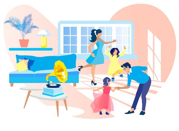 Familie, die zu hause tanzt und grammophon-musik hört.
