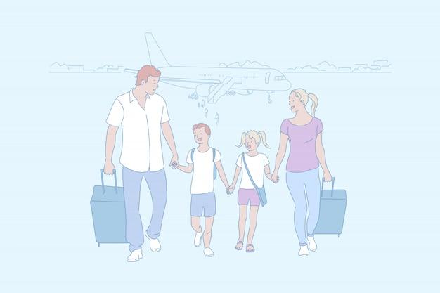 Familie, die zusammen auf eine reiseillustration geht
