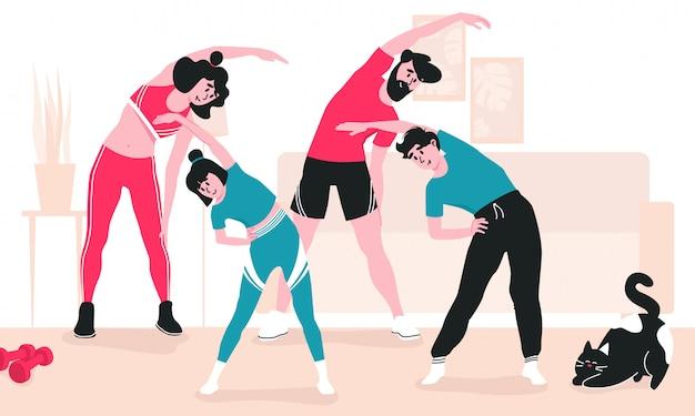 Familie, die zusammen indoor-training macht. mutter, vater, tochter und sohn wärmen sich mit seitenbiegungen auf, katze herum.