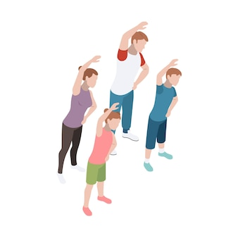 Familie, die zusammen sport 3d isometrisch macht