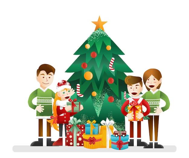 Familie, die zusammen weihnachten feiert