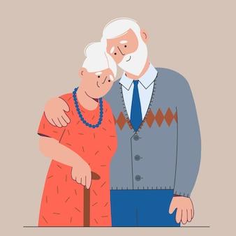 Familie eines älteren ehepaares. ein mann und eine frau stehen mit ihren armen umeinander. farbabbildung in einem flachen stil.