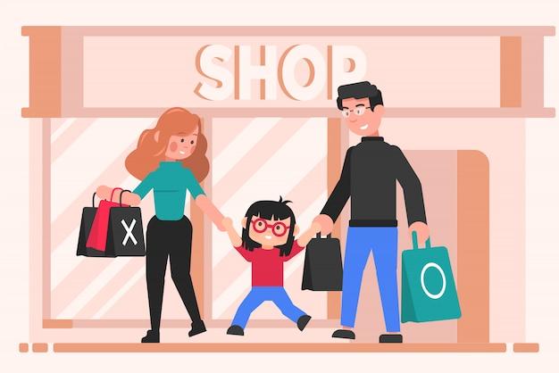 Familie, einkaufen, freizeit, mutterschaft, vaterschaft, kindheitskonzept