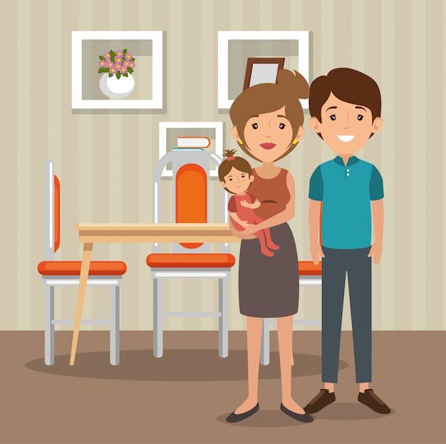 Familie eltern im esszimmer szene