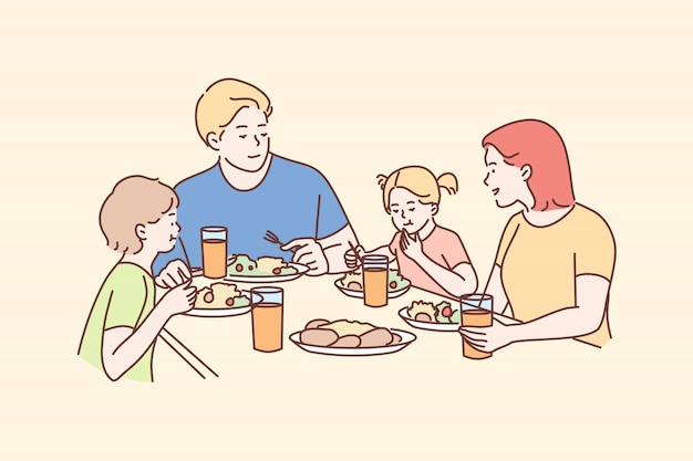Familie, erholung, freizeit, abendessen, vaterschaft, mutterschaft, kindheitskonzept