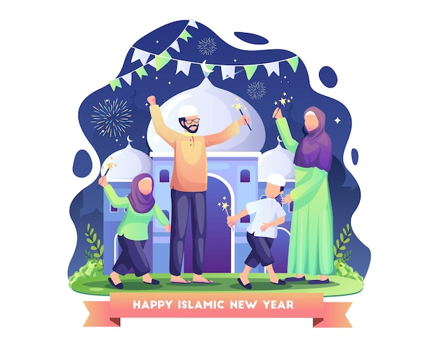 Familie feiert islamisches neues jahr, indem sie feuerwerksillustration spielt