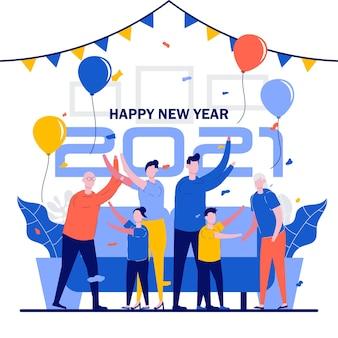 Familie feiert neujahr mit großer freude.