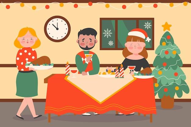 Familie feiert weihnachten mit einem köstlichen abendessen