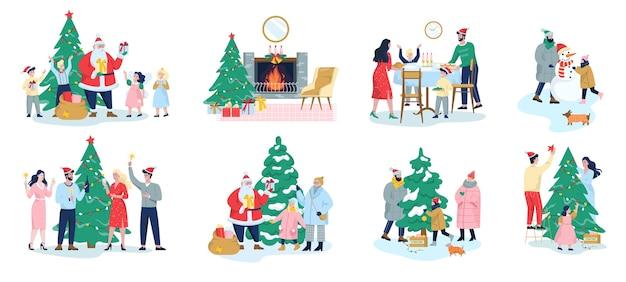 Familie feiert weihnachtsset. familie, die weihnachtsbaum für feier schmückt. weihnachtsmann mit geschenken. festliches abendessen, party für kinder und büroangestellte.