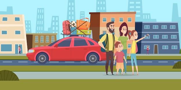 Familie geht zum roadtrip. glückliche mama, papa und kinder machen selfie auf der stadtstraße. reisen sie zusammen auf autovektorillustration. reisestraße familie, urlaubsreise und reise