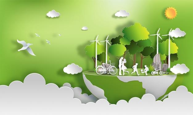 Familie genießen die aktivitäten, die mit eco grünem stadtkonzept im freien sind.